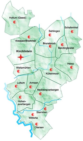 Übersichtskarte Kirchlinteln©Gemeinde Kirchlinteln